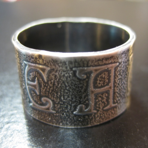 handmade silver etched ring