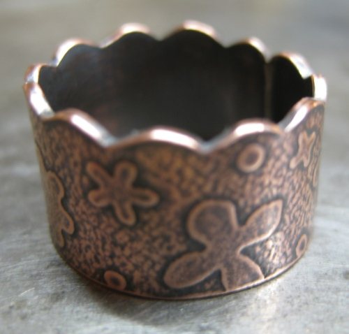 Handmade flower copper ring