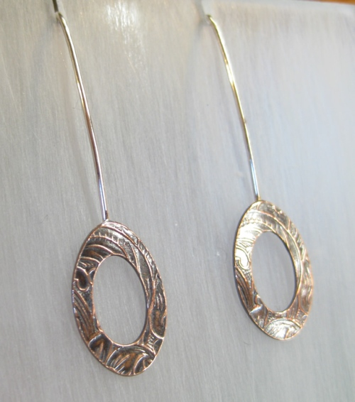 handmade silver & copper earrings textured artisan