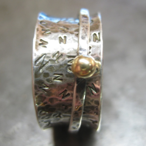 handmade silver & gold decision spinner ring