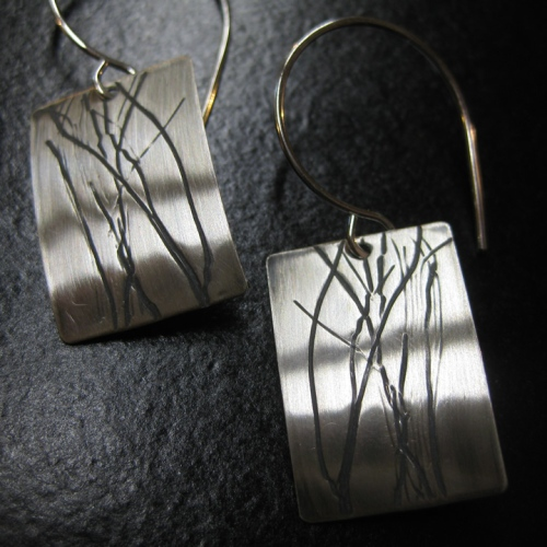 artisan winter silver earrings
