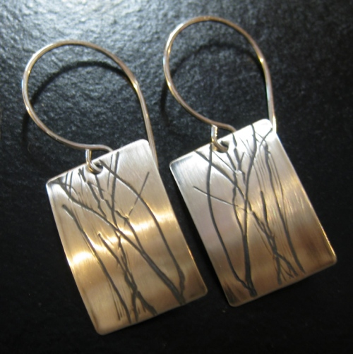 Handmade silver earrings winter walks