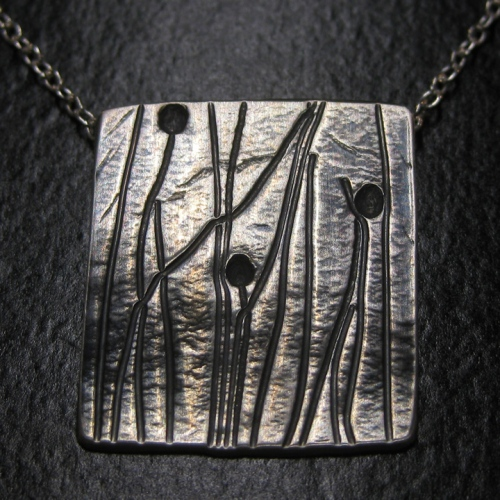 artisan silver autumn grass pendant one of a kind