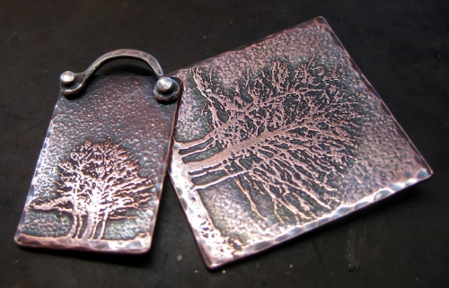 Etched Trees - copper pendant and charm