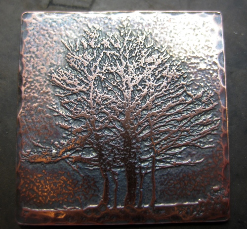 artisan etched copper tree pendant Aubrac Aveyron