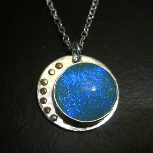 Dichroic glass pendant handmade bezel set silver & copper